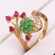 Flower Ruby Emerald CZ 18K Yellow Gold Plated Fashion Women Jewelry Ring Size 8