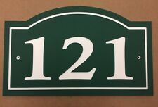 """Arched House Number Sign Address Plaque 14x8.5"""" Green/White 1/4"""" King ColorCore"""