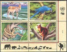 Naciones Unidas (G) 1999 animales en peligro de extinción/Vida Salvaje/Loro/Serpiente/caballo/naturaleza 4v Negro (b5408)