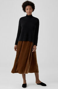 New Eileen Fisher ORGANIC COTTON BOUCLE TURTLENECK BOX-TOP Sweater Black Sz L