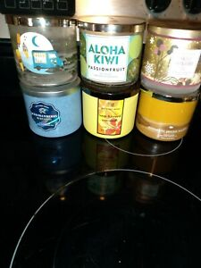 (6) Empty Bath and Body Works Three Wick Candle Jars With Lids