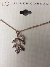 New Lauren Conrad Rose Gold Tone Leaves & Pearl Necklace