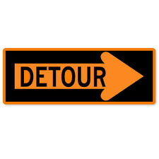 "Detour sign warning sign sticker 8"" x 3"""