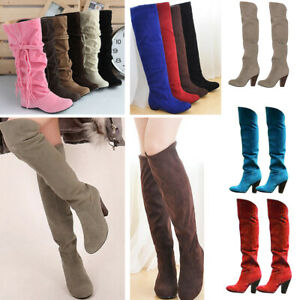 Fashion Womens Cowboy Knee High Boots Casual Lace Up Chunky Heel Warm Shoes Size