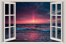 Sunset Ocean Coast Beach Window Color Wall Sticker 36x24