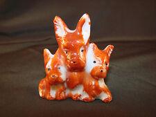 "Vintage Trio Scott Terrier Puppy Dog Figurine JAPAN Porcelain 2 1/4""T Small STK2"