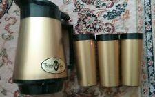 West Bend Thermo-Serv Insulated Coffee Carafe 3 TUMBLERS Gold LABEL NEW MCM