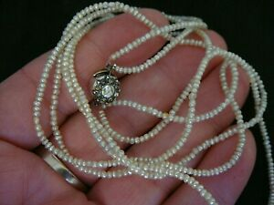 ANTIQUE 19TH CENTURY DOUBLE ROW SEED PEARL NECKLACE WITH SILVER PASTE CLASP