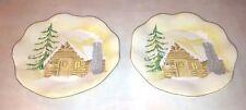 Log Cabin Decorative Footed Plates Ceramic Woodland Scene Snow Rustic Decor