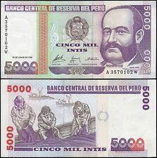 Peru 5,000 (5000) Intis, 1988, P-137, UNC