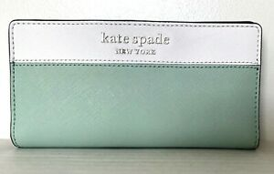 New Kate Spade Cameron Large Slim Bifold Leather wallet Spring Meadow