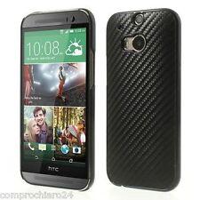 Custodia Nera Carbon Fiber Texture per HTC One M8 - Cover