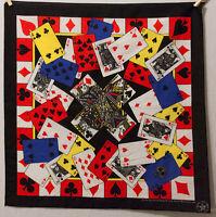 "Vintage Playing Cards Black Bandanna Handkerchief USA 21""x 21"""