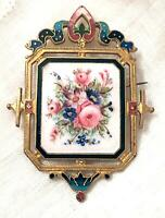 Antique French Enamel Champleve Floral Hand Brooch Painted Gilted  Pin Victorian