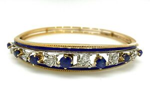Vintage Diamond, Sapphire and Enamel Bangle Bracelet in14k Gold- HM1123SB