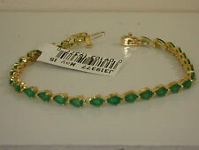 14K YELLOW GOLD & EMERALD PEAR SHAPED TENNIS BRACELET NEW 6 3/4 INCH