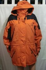 LL Bean Outdoors Womans Orange Poly Lined Parka Jacket w Hood - Size Reg Med