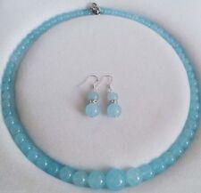6-14mm Brazilian Aquamarine Round Beads Necklace18'' Earrings Set JN265