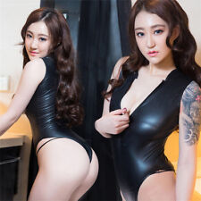 Women Sexy Patent Leather Bodysuit Leotard Wetlook Shiny Zipper Collar Lingerie
