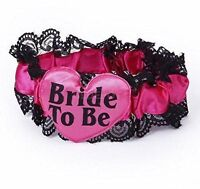 Bride To Be Garter Hot Pink With Lace Hen Night Party Accessories Hen party