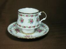 Elizabethan Bone China England Swirl Cup and Saucer Pink Roses Brush Gold Trim