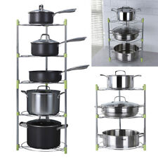 Chrome Steel Kitchen Corner Pan Storage Shelf Stand Saucepan Pot Organiser Rack