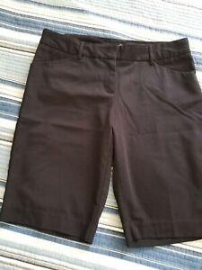 Daisy Fuentes Womens Black Walking Shorts Front & Back Pockets Belt Loops Sz 10