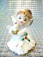 RARE VTG Miniature Napco Christmas Angel Girl Holds Xmas Candle