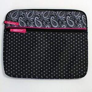 """Pampered Chef e-Tablet Soft Padded Case, """"On-the-Go"""" #1229 Black/Pink Paisley"""