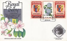 BEQUIA 1982 BIRTH OF PRINCE WILLIAM 60c GUTTER PAIR FIRST DAY COVER