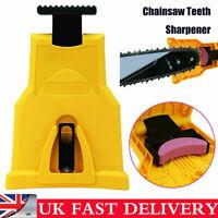Woodworking Chainsaw Teeth Sharpener Blade Bar Mount Sharpening Tool W/Stone UK