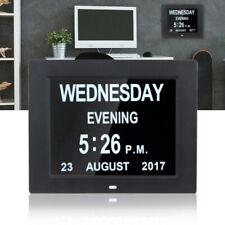 Digital Calendar Day Clock Large Letter LEDs Dementia Alarm Time Date Month Year