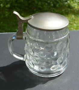 Bierkrug Glas, mit Zinndeckel