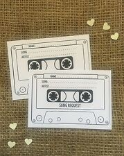25 white A7 Wedding cassette tape Song/DJ request cards