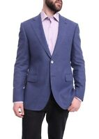 Mens 38S Napoli Slim Fit Blue Textured Two Button Half Canvassed Wool Blend B...