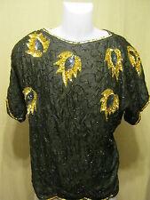 TINA Vintage Women's Formal Top/Blouse,Medium,Black/Gold,Beaded/Sequins NEW