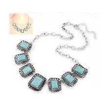 Silver Blue Stone Retro Tribal Decorative Statement Costume Jewellery Necklace