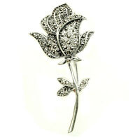 Round 2mm Champagne Marcasite 925 Sterling Silver Rose Flower Brooch