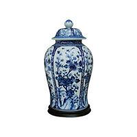 "Beautiful Blue and White Floral Motif Porcelain Temple Jar w Base 19"""