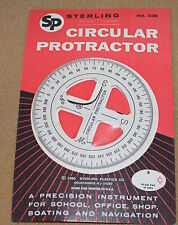Vintage 1960 Sterling Plastics Circular Protractor Made In USA Unused On Card