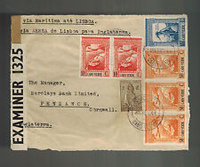 1944 Cape Verde Cover Front to Barclay's Bank England Censored Airmail