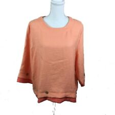 Norm Thompson Womens Size XL Orange 3/4 Sleeve Top
