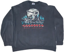 Vintage 1991 Tee Jays Sweater Merry Christmas Wolves Wolf Pack Size XL