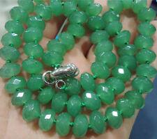 5x8mm facettierte grüne Jade Halskette 46CM