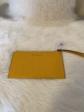 Michael Kors Jet Set Item Lg Zip Clutch Wristlt Leather Jasmine Yellow