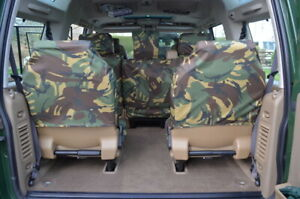 Green Camo Waterproof Seat Covers Back Rear Dicky for Land Rover Disco Series 2