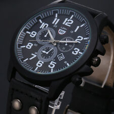 Vintage Classic Mens Waterproof Date Leather Strap Sport Quartz Army Watch Gift