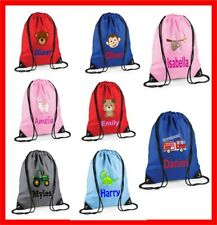 Personalised Children's Printed Drawstring Bag Swimming Nursery P.E MANY DESIGNS