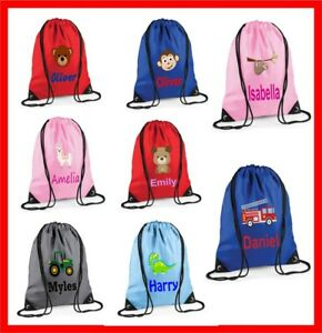 Personalised Children's Printed Drawstring Bag Swimming Nursery P.E MANY DESIGNS