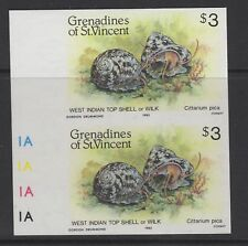 GRENADINES OF ST.VINCENT SG363imp 1985 $3 SHELL FIDH IMPERF PAIR MNH